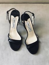 Jimmy Choo Black Leather Slingbacks Sandals Heels Woman Shoes Size 38.5EU
