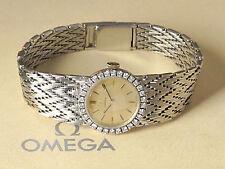 Omega Ladies 18Kt Solid Gold Diamonds Set Bezel Manual Wind Cocktail Watch