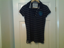 Ladies size L Superdry collared tee shirt approx 38 inch bust blue with grey str