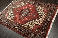 "5' x 6'5"" Hand Knotted 100% Wool Herizz Oriental Area Rug Traditional Red Ivory"