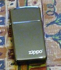 PLAIN EBONY SLIM WITH LOGO ZIPPO LIGHTER FREE P&P FREE FLINTS