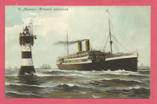 """Dampfer """"Bremen"""" Rotesand - Leuchtturm passierend,  gel 1909"""