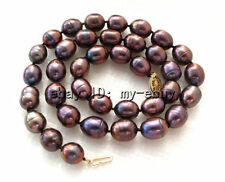 """Blue Brown Rainbow Rice Freshwater Pearl Necklace 14KGP Clasp 18"""""""