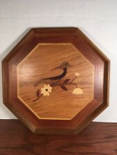 Vintage Inlaid Wood Serving Tray Marquetry Wood Octagonal Bird