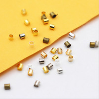New Gold Silver Plated Crimps Stopper Tubes Beads End Cap Jewelry Findings 2x2mm