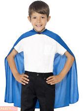 Childrens Childs Fancy Dress Cape Blue Kids Superhero Cloak by Smiffys