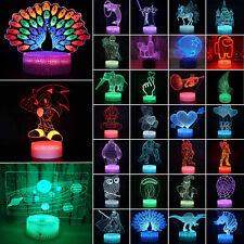 3D illusion Night Light LED Table Desk Lamp 7 Colour Change Xmas Kids Gift Decor