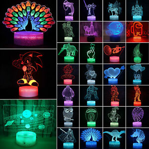 3D Illusion Night Lights LED Table Desk Lamp 7 Color Change Birthday Gifts / New