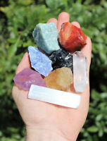 MEDIUM Chakra Natural Stones Set 7 Rough Crystals Raw Selenite Stick, Directions