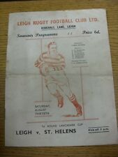 30/08/1947 programma Rugby League: Leigh V St. Helens [Lancashire COPPA] (piegato, D