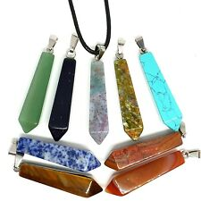Carved Pendulum Reiki Stone Quartz Pendant Pillar Necklace Spiritual Healing UK