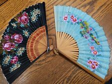 Vintage Asian Folding hand fans - Wwll era - paper and bamboo - flowers