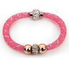 PINK MESH DOUBLE SHAMBALLA, BEAD STARDUST CRYSTAL MAGNETIC BRACELET