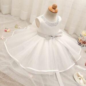 New Baby Girl White Christening Dress Princess Wedding Kids Baptism Clothes