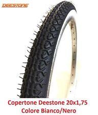 """1 Copertone Deestone 20x1,75 Bianco/Nero (D-309) per Bici 20"""" Tipo Graziella"""