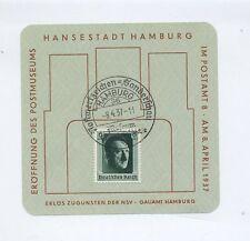 1937 3.  Reich Gedenkblatt Eröffnung Postmuseum Hamburg Mi 646 EF