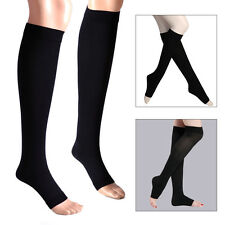 Compression Thin Leg Socks 30-40 mmhg Supports Open Toe Varicose Veins Stockings