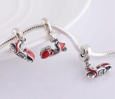 ITALIAN VESPA SCOOTER 925 Sterling Silver Solid Dangle Charm Bead Bracelet