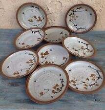 GAWAINE DART POTTERY STONEWARE PLATES SET (9) HARD-TO-FIND, SIGNED BY ARTIST