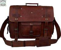 New Mens Large Vintage Leather Messenger Laptop Briefcase Satchel Bag Brown