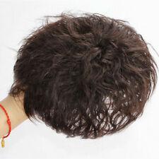 100% Human Hair Curly Wavy Hairpiece Topper Top Bob Short Wigs Men Womens Wigs