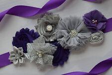 Flower Sash, Dark Purple silver grey sash , flower Belt, maternity sash