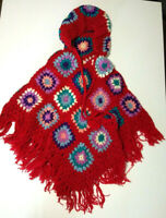 Hooded Knit Granny Square Poncho Shawl 100% Wool Made in Nepal Small Size
