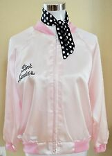 NEW 50's PINK LADIES JACKET GREASE ADULT WITH EMBROIDERED LETTERS AND SCARF XS