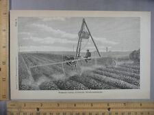 Rare Antique Orig VTG Wheeled Tripod Sprinkler Farm Apparatus Illustration Print