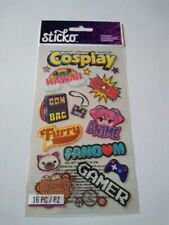 Scrapbooking Stickers Sticko Cosplay Gamer Kawaii Con Anime Badge Swag Bag Furry