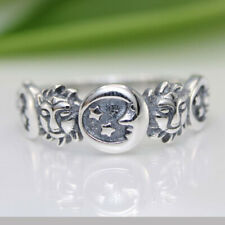 Boho Vintage Handmade 925 Silver Moon Star Ring Women Unique Jewelry Size 5-10