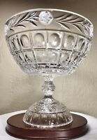 Vintage Large Heavy Cut Crystal Centerpiece Pedestal Bowl Etched Floral 8.25""