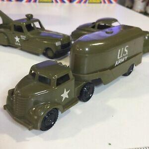 "VINTAGE PYRO HARD PLASTIC MILITARY GREEN USA ARMY SEMI HAULER TRAILER TRUCK 5.5"""