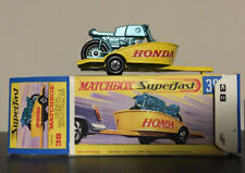 Transitional Matchbox Superfast No.38 Motorcycle With Trailer.  Plus Repro Box