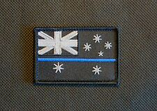 Thin Blue Line Australia Flag Patch Police SWAT VELCRO® Brand Hook Backing