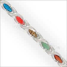19cm Magnetic Hematite Alloy Link with Multi Colour Gems Bracelet / Bangle
