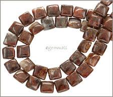 "Red Brown Pietersite Flat Square Beads 10mm 15.5"" 77052"