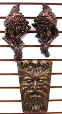 Clearance Lot of 3 Green Man Leaf Mythical Faces Gothic Art Bacchus Wine God