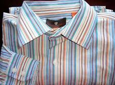 ** TOSCANO ** Crisp Fresh Looking Stripe Plaid Blue Green Shirt Size L