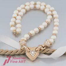 Perlen-Kette - Akoya-Zucht-Perlen - Brillanten ges. ca. 1,11ct -18K/750 Gelbgold