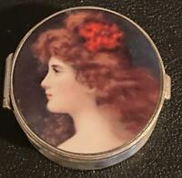 ANTIQUE ENGLISH STERLING SILVER HANDPAINTED PORCELAIN PORTRAIT SNUFF PILL BOX
