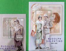 Rudolph Valentino & Natasha Rambova Souvenir Stamp Sheets #2509 -10 Antigua E64