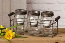 Mason Jars W/Tea Light Holders-In Wire Caddy-Candle Not Inc