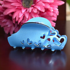 New Chic Lady Beautiful Water Blue Hollow Heart PEARL ACRYLIC Barrette Hair Claw