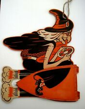 "Fantastic Vintage ""Halloween"" Decoration w/ Witch On Jet Broom w/ Honeycomb  *"