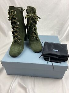 PRADA Green Goat Skin Suede Lace-up Block-heel Booties Ankle Boots (IT 39,5)