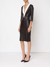 JITROIS Adele Black White Contrast Leather V Neck 3/4 Sleeve Sheath Dress 6/38/M