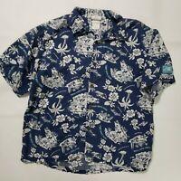 Walt Disney World Trader Micks Surf Gear Large Blue Mickey Mouse Hawaiian Shirt
