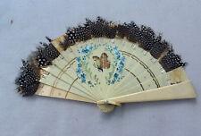 Antique Victorian Hand Fan Bone & Brown Feather Hand Painted Butterflies Flowers