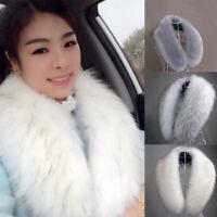 Women Faux Fur Collar Winter Warm Fluffy Collar Scarf Shawl Stole Wrap Scarves